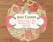 Shabby Hearts - CUSTOM Address Labels or Stickers