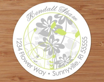 Kendall (Retro Flowers and Swirls) - Custom Address Labels or Stickers
