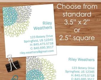 Riley (Retro Dahlias) - 50 Custom Business or Calling Cards