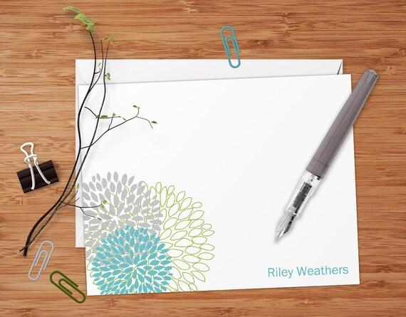Riley (Retro Dahlias) - Set of 8 CUSTOM Personalized Flat Note Cards/ Stationery
