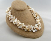 Mother of Pearl Necklace, Teardrop Necklace, Multi-Strand Necklace, Beach Wedding, Bridal Necklace