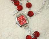 Watch Pendant Necklace, Women's Pendant Watch with Red Coin Shell Beaded Necklace
