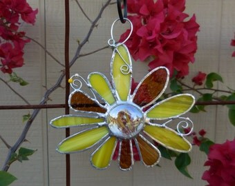 Stained Glass Flower - Handmade - Suncatcher - Yellow - Amber - Gift - Window Decor - House Warming - Birthday - Mothers Day - Easter