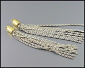 2 pcs of white color coated long chain tassel pendants, 7 multi strand white chain with a gold bail 2010G-WH