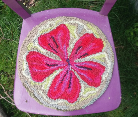 Chair Cushion Hooked Cushionseat Padupcycled Rag Rugchair