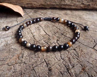 Brown Onyx Unisex Knot Anklet, 6mm beads