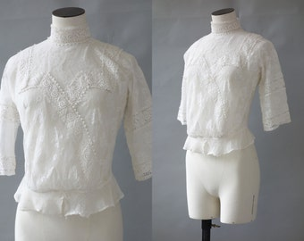 White irish lace blouse  | 1910's by cubevintage | extrasmall