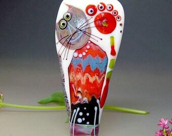 Artist handmade lampwork glass bead -Cat Bead - Glassartist Manuela Wutschke