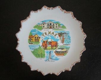 Texas The Lone Star State Vintage Kitsch Decorative Souvenir Plate