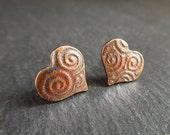 Bronze heart earrings, stud earrings, studs, embossed bronze, valentine's day gift, bronze hearts, 8th wedding anniversary,  post earrings