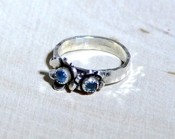 Artisan Handmade Silver Flower Ring with Blue Topaz and Custom Cut Flowers on Hammered Silver Band - Solid 925 Sterling Silver RG954