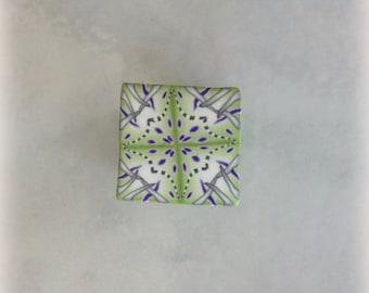 Polymer Clay Kaleidoscope Cane Lime Green, Purple, White No. 2185