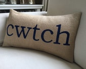 Welsh cwtch cuddle burlap pillow hessian cushion cover -  navy blue