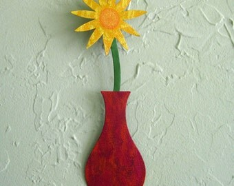Metal wall art gift flower sculpture vase home wall decor reclaimed metal wall red yellow