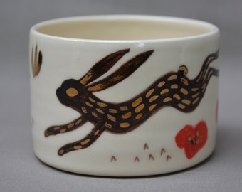 Rabbit with Poppies handmade hand painted gold ceramic art mug