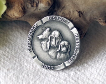 Vintage Framingham Kennel Club Medallion Dog Award Medal Pewter