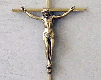 Vintage Brass CRUCIFIX Catholic Cross Jesus Christ - Mid Century Religious Crucifix