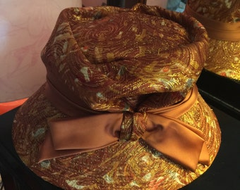 HAT by Roberta Bernays Millinery Designer Cloche Flapper Hat Mettalic Brocade VG History