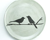 "9.5"" Birds Dinner Plate, Design: Lovers, Antique White Glaze - 2 week ship"
