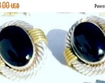 CIJ Christmas July SALE Beautiful Sterling Silver Cable Brass Black Onyx Vintage Mexican Modernist Vintage Earrings