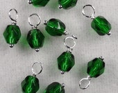10 - Handwrapped  6mm Czech Bead Dangles-Charms Holiday Green