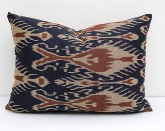 20x17 ikat print decorative pillow cover, brown, dark blue pillows, lumbar pillows, ikat pillows, Housewares, Home Decor,