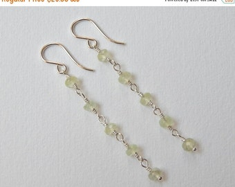 Prehnite Earrings - Sterling Silver Beaded Rosary Earrings Dangle Earrings Beadwork earrings Mint Green Faceted Beads