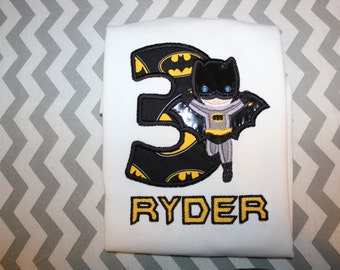 Personalized Batman number embroidered top with name size 2t, 3t, 4t, 5t, Xs, S