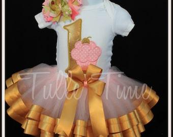 Gold golden pink 1st First Cupcake birthday onesie ribbon tutu dress size 6-12m, 12m or 18 m
