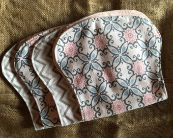 Burp Cloths, Bibs, and Blanket Modern Soft and Cuddly Gift Set for Baby Girl