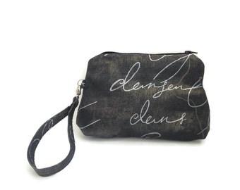 Small grey zipper purse / pouch w wristlet washable cotton French fabric  cute summer unique aqua french words bag, CarolJoyFashions75