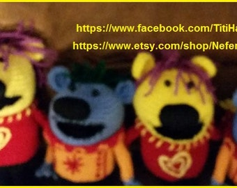 Handmade Jack's Big Music Show Doll, Crochet Knit Stuffed Toy, Jack Mary and Mel Dolls / Made to order as seen on TV