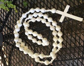 Wood rosary white