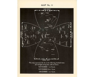 1942 VINTAGE NOVEMBER LITHOGRAPH constellations star map original vintage celestial astronomy print