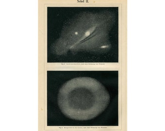 1894 ANTIQUE NEBULA LITHOGRAPH original antique celestial astronomy print no. 2 - ring & andromeda nebulae