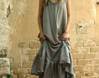 Grey maxi dress, pure silk evening dress, silk prom dress, bridesmaid dress - sexy gray dress
