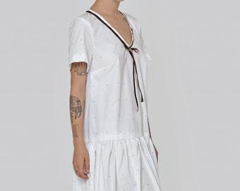 White  Omega dress - short sleeve dress- frill knee length dress- loose tunic- cotton dress- loose top - sexy dress- oversize dress