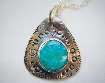Blue Opal Gemstone and Sterling Silver Native American Inspired Necklace