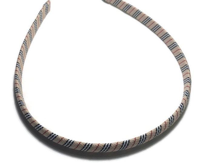 Black, Red, Tan Stripes Headband - Handmade To Order