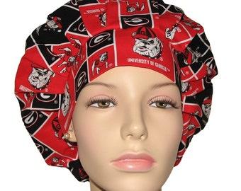 Scrub Hats - University Of Georgia Bulldogs Block Print Fabric