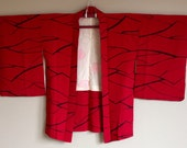 1950s HAORI KIMONO Jacket BOHO Japanese Geometric Abstract Pattern