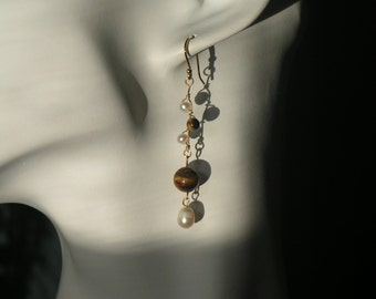 Tigereye Dangle Earrings, Tigereye Earrings, Fresh Water Pearl Earrings