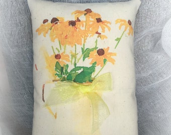 Black Eyed Daisy Pillow | Watercolor Print | Pillow Tuck | Watercolor Flowers