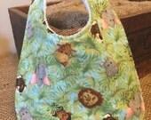 Cuddly Jungle Babies Flannel Bib for Boy or Girl
