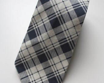 Big Guy NECKTIE Tie - Navy and Gold Holiday Collection - Navy Plaid (Adult) - Man Groom Groomsman