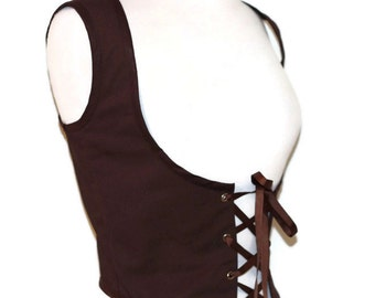 Brown Renaissance Bodice Steampunk Lace Up Vest  Pirate Wench Ren Faire  Renn Fair Halloween Costume Womens Bodice Small Medium Large Xlarge