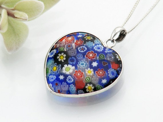 Vintage Millefiori Heart Pendant | Italian Glass Small Pendant | Thousand Flower Jewelry | Multi Colored Flowers - 18 Inch Sterling Chain