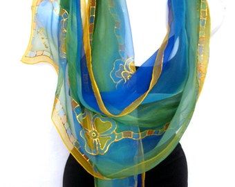 Silk Scarf Handpainted, Hand Painted Silk Scarf, Royal Blue Mint Green Golden Yellow, Floral Geometrical, Chiffon Silk Scarf, Gift For Her
