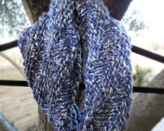 Denim blue hand knit infinity cowl scarf