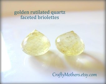 AA GOLDEN RUTILATED Quartz Faceted Onion Briolettes, Matched Pair for earrings, 11.5mm x 10mm (2 bead), gold rutiles, rare natural gemstones